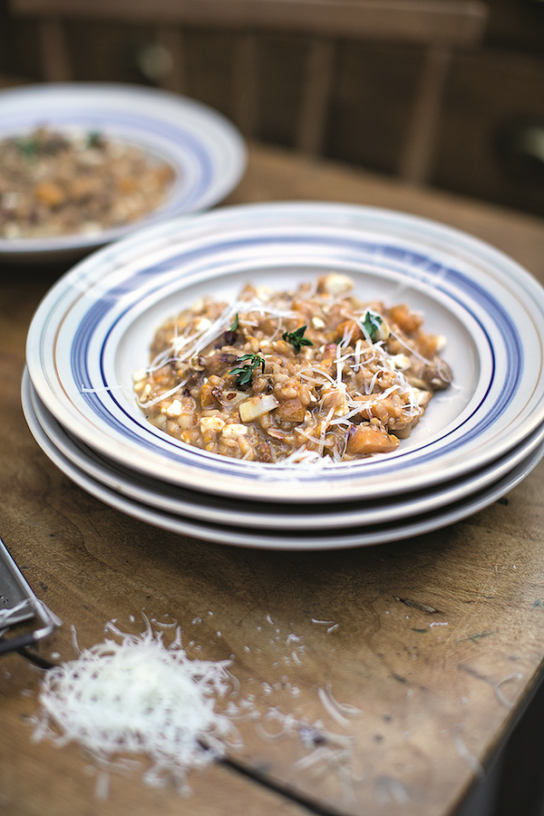 chicken stock recipes  Squash & Sausage Risotto from Super Food Family Classics by Jamie Oliver