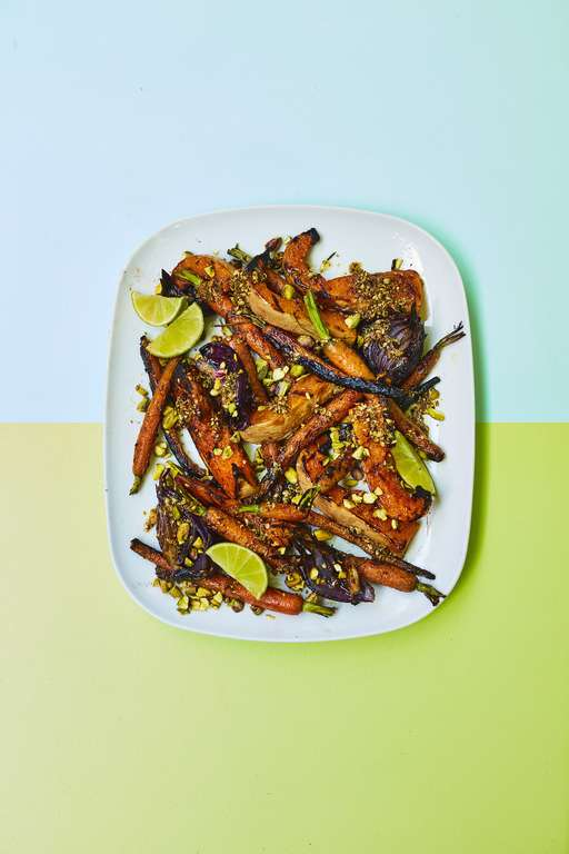 Squash with Charred Carrots, Red Onions, Coriander Seeds, Pistachios and Lime
