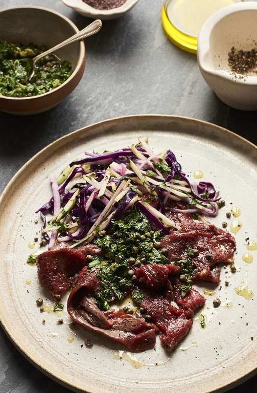 Rare Beef with Salsa Verde and Dulse Slaw