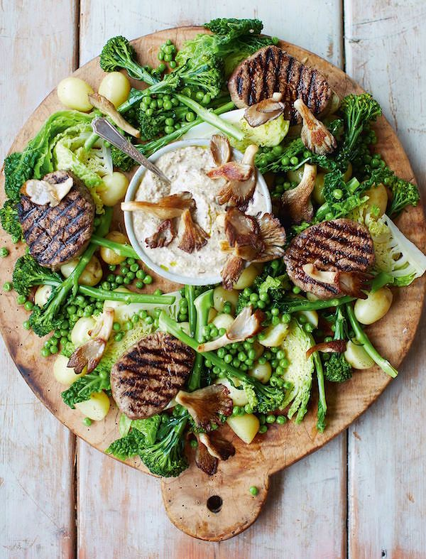spring recipes Steak Medallions, Mushroom Sauce and Spring Greens fromJamie's 15-Minute Meals by Jamie Oliver