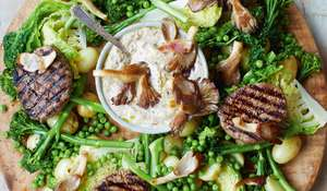 Steak Medallions, Mushroom Sauce and Spring Greens