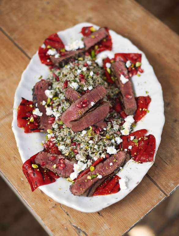 Griddled Steak & Peppers Herby Jewelled Tabbouleh Rice