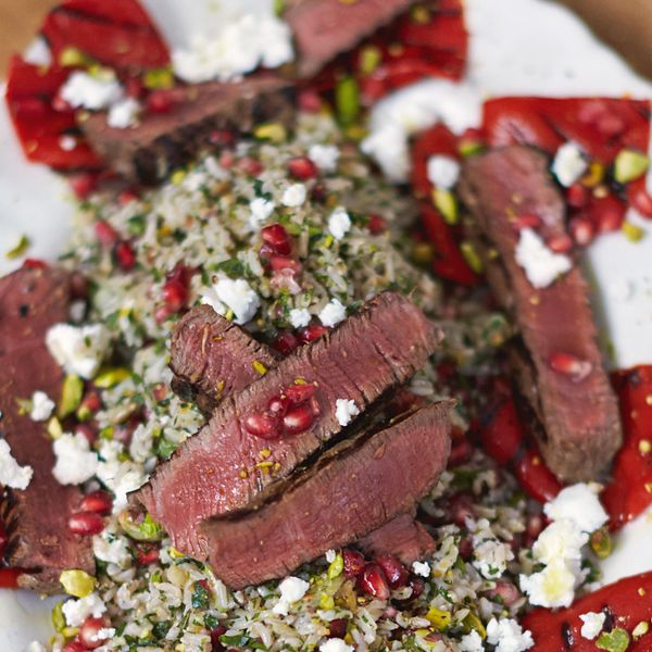 Griddled steak peppers herby jewelled tabbouleh rice the happy enjoy this simple steak recipe from jamie olivers everyday super food cookbook indulgent but healthy this dish makes a special dinner for two without forumfinder Choice Image
