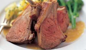 Roast Rack of Lamb with Crushed Potatoes and Slowly caramelized garlic