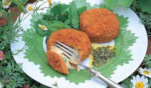 Salmon Fish Cakes with Sorrel and Watercress Salad in a Caper and Lemon Dressing