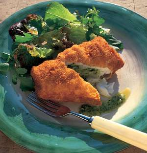 Deep-Fried Cod Stuffed with Pesto Butter