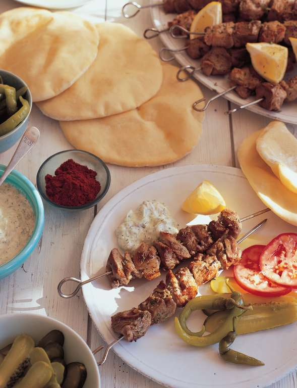 Lamb Souvlaki with Flatbreads, Tzatziki, Tomatoes and Pickles