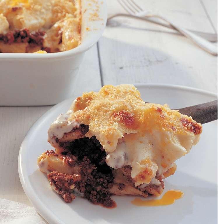 Pastitsio: Beef and Macaroni Pie with Cinnamon, Red Wine and Kefalotiri Cheese