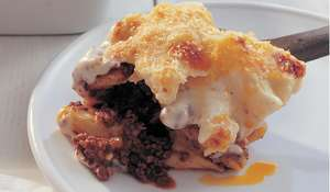Pastitsio: Beef and Macaroni Pie with Cinnamon, Red Wine and Kefalotiri Cheese