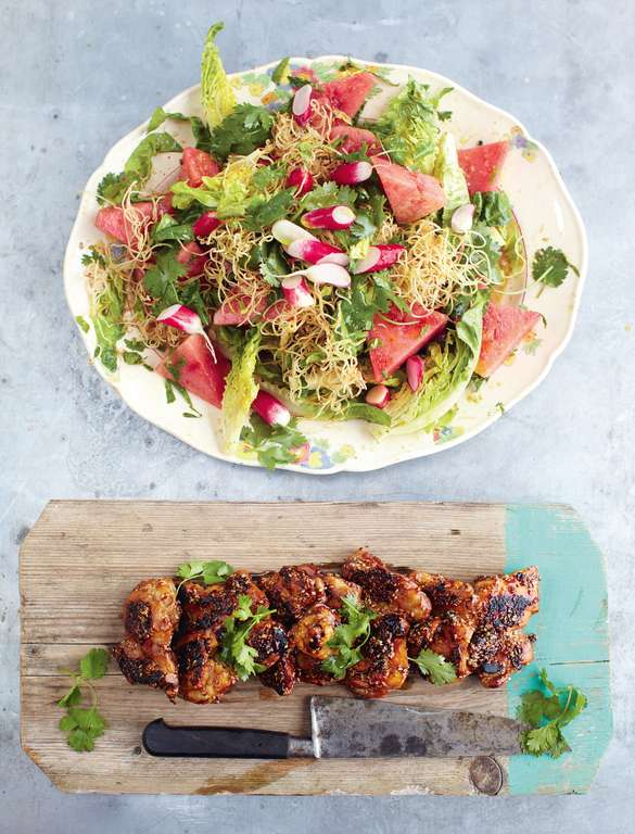 Sticky Kicking Chicken, Watermelon Radish Salad and Crunchy Noodles