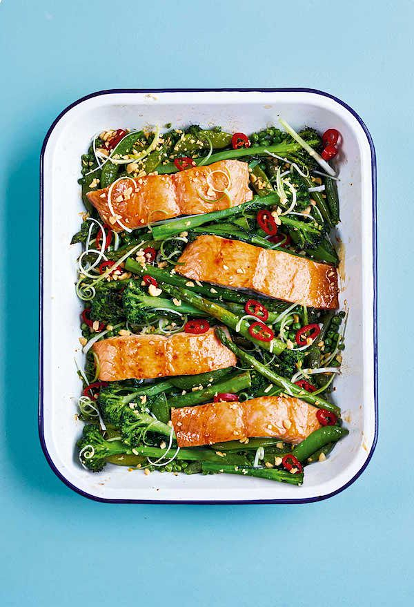 easy christmas recipes sticky soy roasted salmon traybake the quick roasting tin