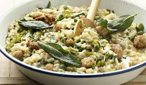 Stilton Risotto with Sausage, Spring Greens and Crispy Sage