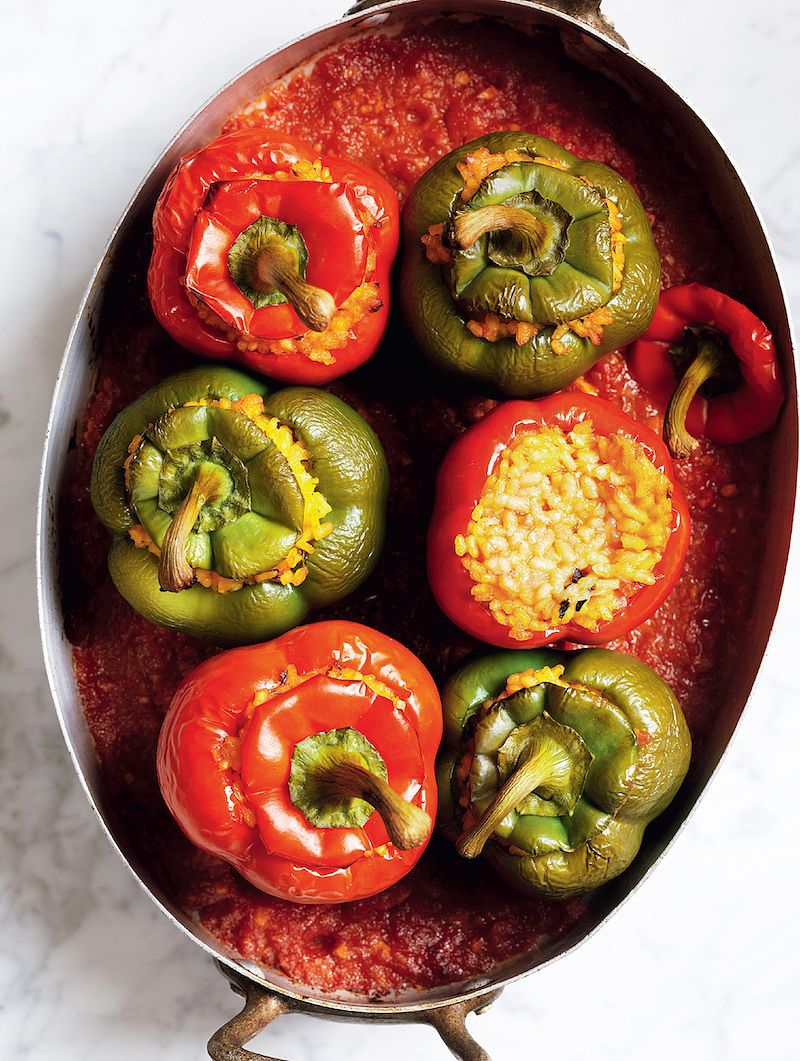 eat the seasons summer claudia roden stuffed peppers with rice in tomato sauce the food of spain