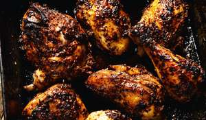 Oven-roasted Chicken with Sumac, Pomegranate Molasses, Chilli and Sesame Seeds from Rick Stein's From Venice to Istanbul