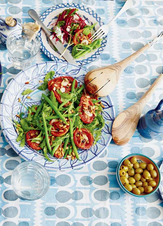 Slow-Roasted Tomatoes with Rocket and Green Beans