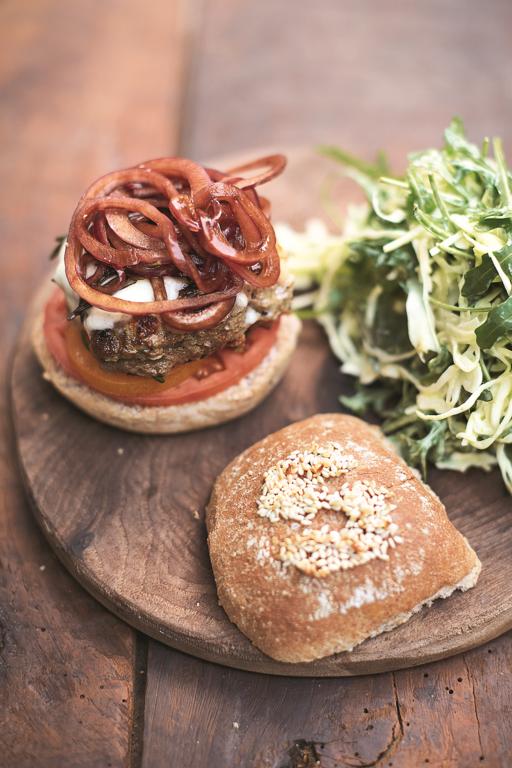 Italian Super-food Burgers Balsamic Onions, Mozzarella & Slaw