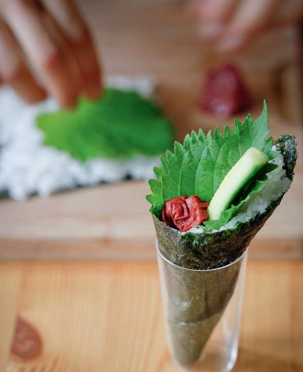 Umeboshi and Cucumber with Shiso Temaki (Japanese Pickled Plum and Cucumber with Shiso Leaves Hand Roll)