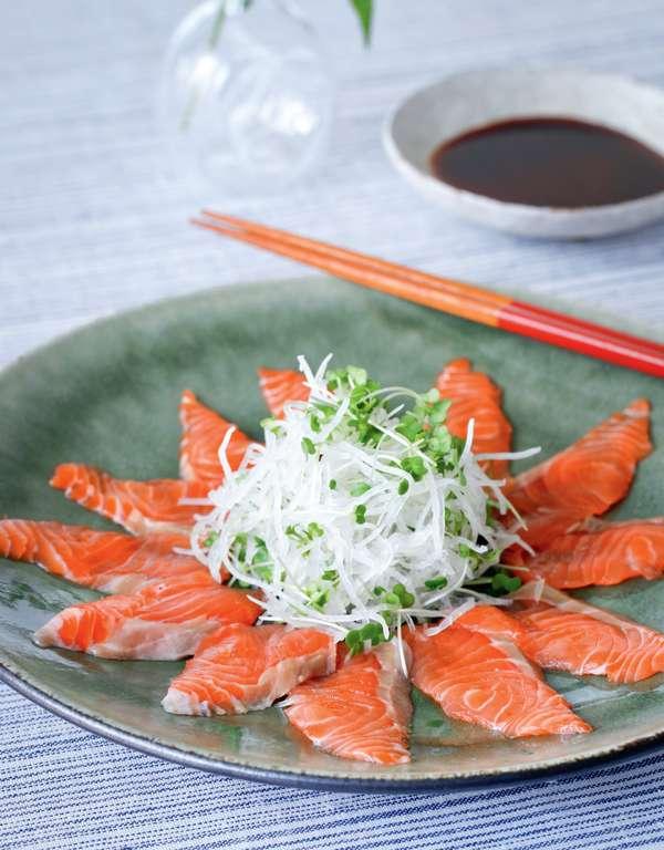 Salmon sashimi with ponzu sauce the happy foodie for Sashimi dressing