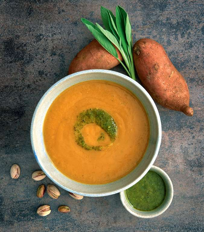 Sweet Potato Soup with Pistachio, Orange and Mint Pesto