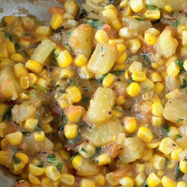 Sweetcorn And Potatoes With Mint Madhur Jaffrey Recipe
