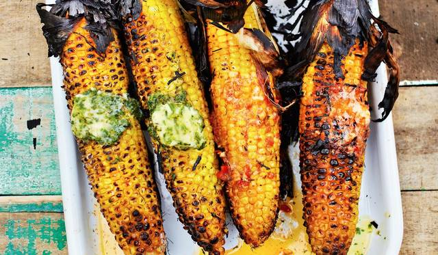 Barbecued or Griddled Sweetcorn with Flavoured Butters