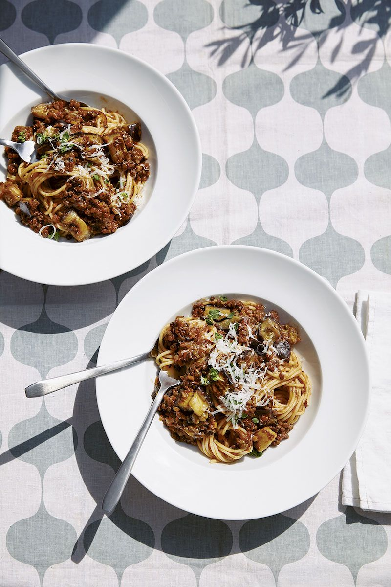 best recipes of 2020 Aubergine & Puy Lentil Bolognese fromTable Manners: The Cookbook by Jessie Ware & Lennie Ware