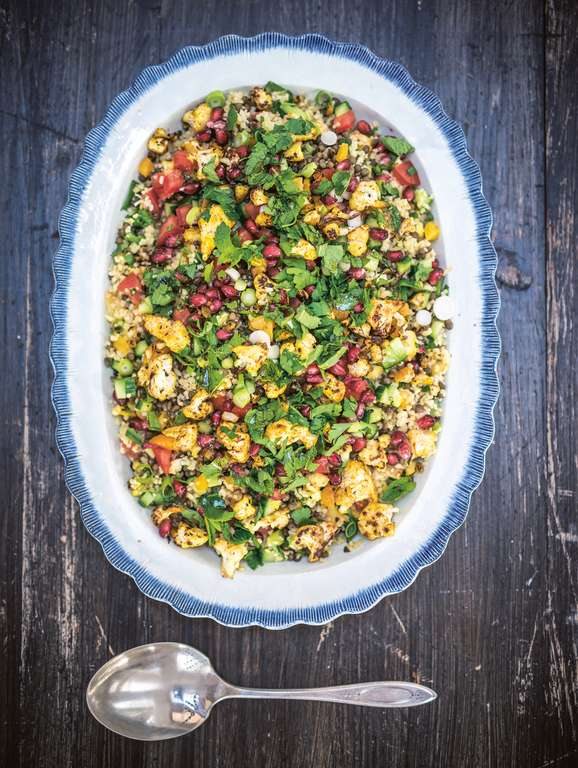 Braised Cauliflower and Puy Lentil Tabouleh
