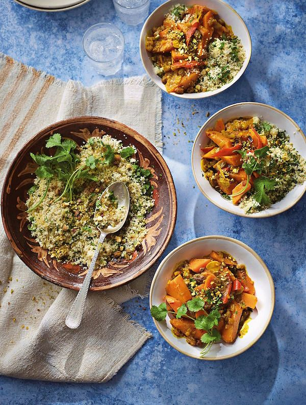 vegan dinner party recipes Squash and Sweet Potato Tagine from Ainsley's Mediterranean Cookbook by Ainsley Harriott