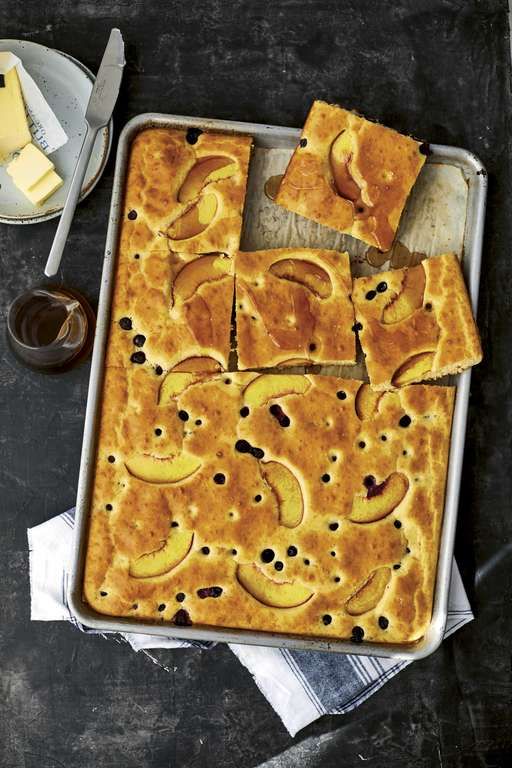 Blueberry-Peach Sheet Pancake
