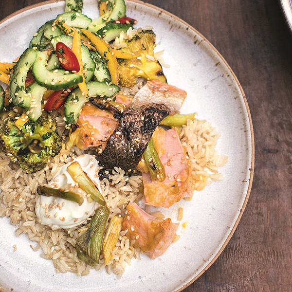 Mango teriyaki salmon brown rice chilli cucumber pickle the delight your family with jamie olivers mango teriyaki salmon from his super food family classics book packing two portions of fruit and veg ccuart Gallery