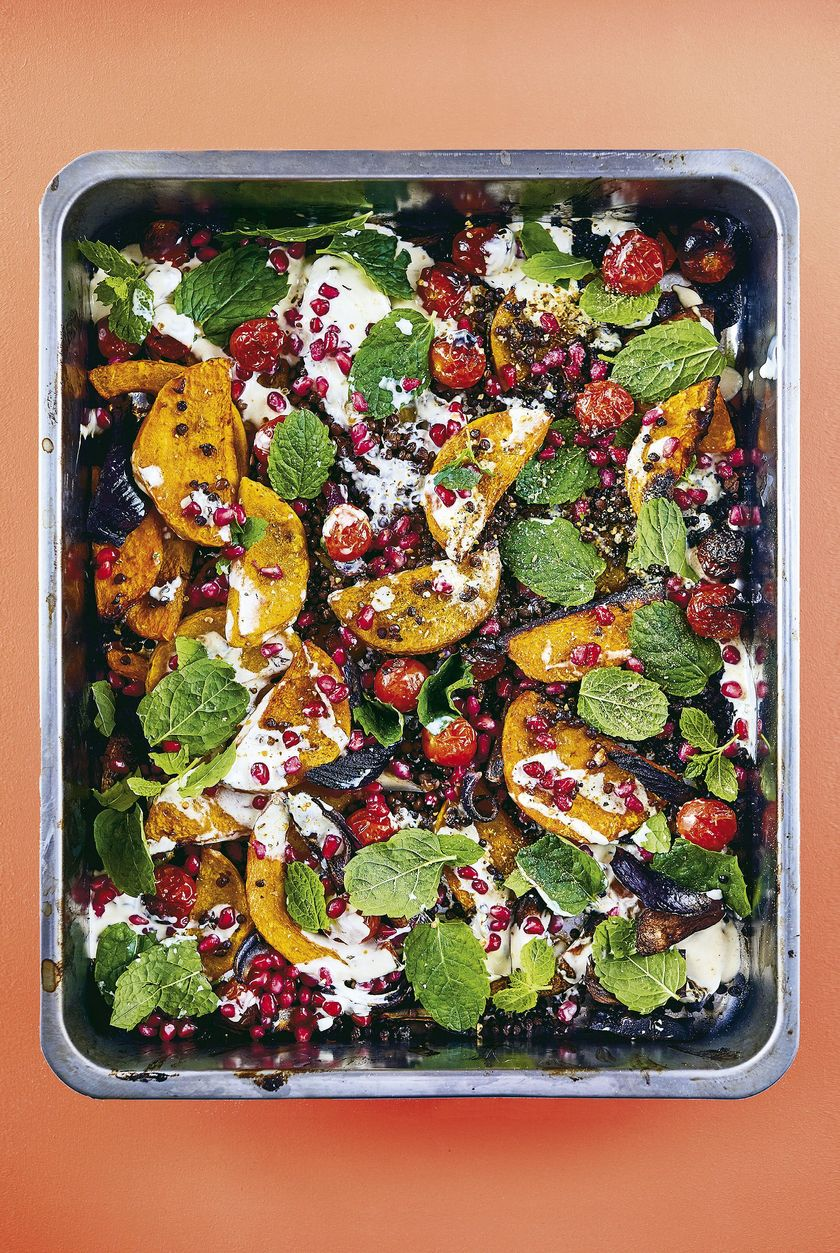 Roasted Squash with Dukkah Vegan Traybake