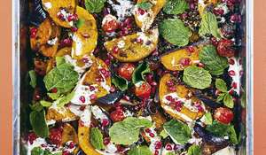 One-tin Roasted Squash with Pomegranate | Vegan Christmas Recipe