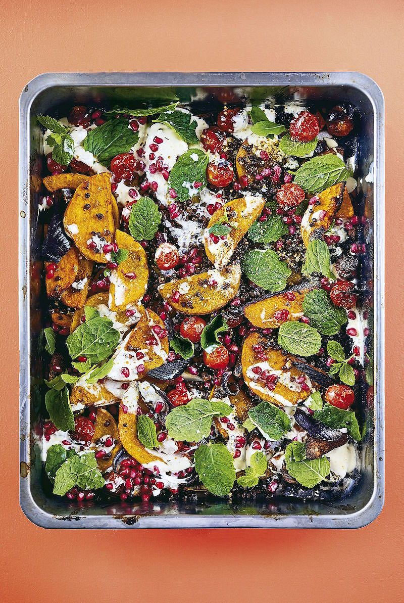 Roasted Squash, Crispy Lentils, Pomegranate & Dukkah from The Roasting Tin Around The World by Rukmini Iyer