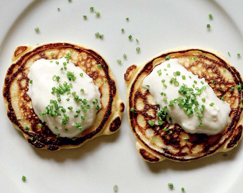 Smoked Salmon & Chive Potato Pancakes with Horseradish Cream