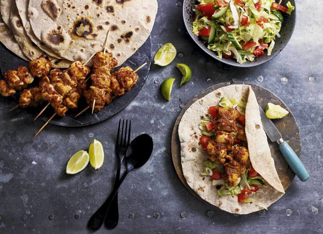Chicken Tikka Skewers with Wholemeal Chapattis