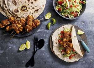 Chicken Tikka Skewers with Wholemeal Chapattis Recipe | Eat Well For Less BBC