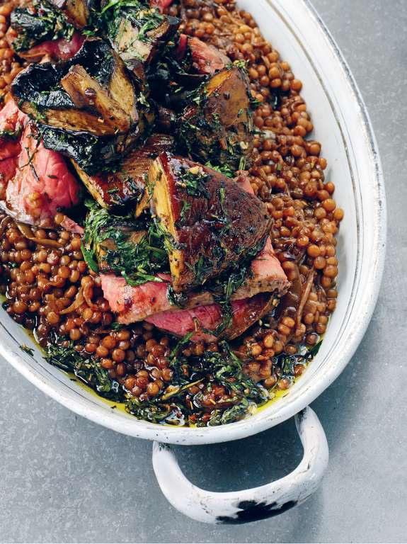 Roast Beef Salad with Couscous and Mushrooms