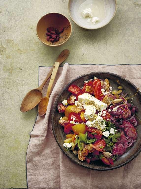 Tomato, Rusk, and Olive Salad: Dakos Salata