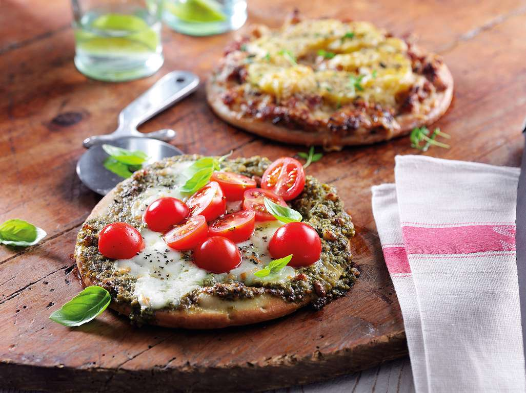 Tricolor Pesto, Mozzarella & Cherry Tomato Pizza (Gluten-Free)