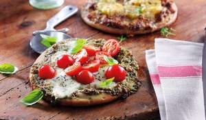 Tricolor Pesto, Mozzarella & Cherry Tomato Pizza (Gluten-Free) from Genius Gluten-Free Cookbook