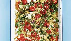 One-tin Bulgur Wheat with Roasted Red Peppers, Tomatoes, Feta & Pine Nuts Recipe