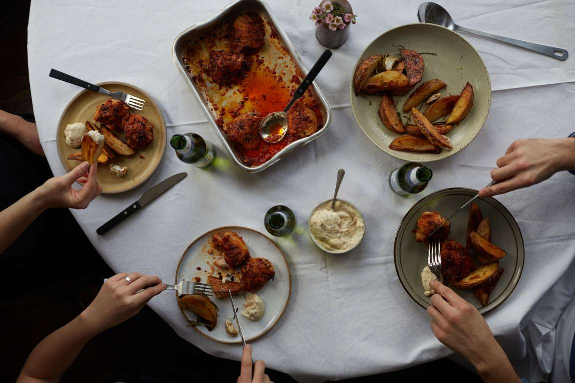 Roast Chicken Thighs and Nduja with Rosemary Potatoes and Anchovy Mayonnaise