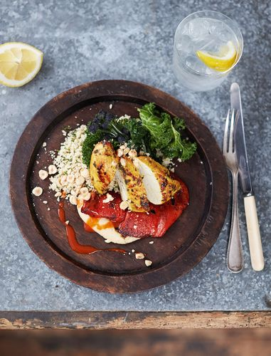Seared Turmeric Chicken Houmous, Peppers, Couscous and Greens Jamie Oliver's Everyday Super Food
