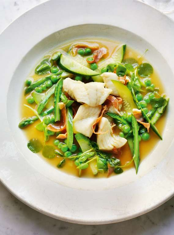 Ragout of Sautéed Turbot with Serrano Ham, Spring Vegetables and Pea Shoots