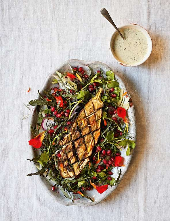 Souk Salad with Spiced Aubergines and Pistachio Yoghurt