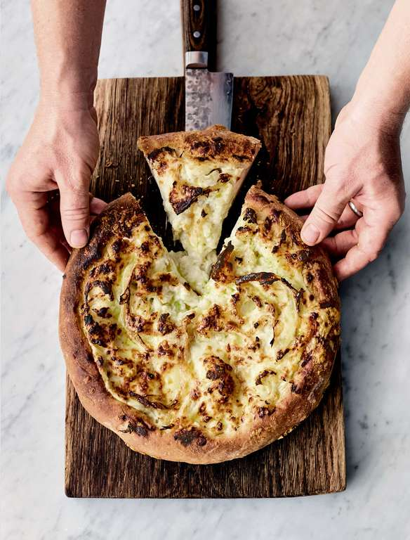 Jamie Oliver's Cauliflower Cheese Pizza Pie with Oozy Melty Cheesy White Sauce and Super-Crispy Crust