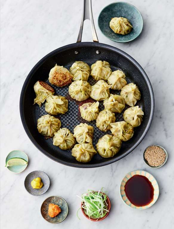 Jamie Oliver's Crispy-Bottomed Steamed Dumplings with Roasted Squash, Broccoli, Garlic, Ginger, Miso, Chilli and Sesame Seeds