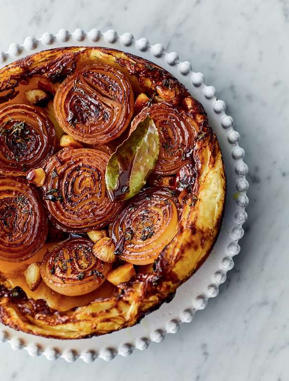 Jamie Oliver's Sticky Onion Tart with Sweet Garlic, Fresh Thyme, Bay and Buttery Puff Pastry
