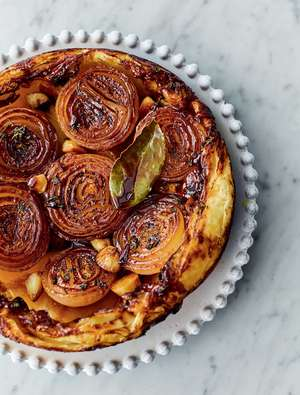 Jamie Oliver's Sticky Onion Tart Recipe | Jamie's Meat-free Meals Channel 4 - Vegetarian Xmas Starter