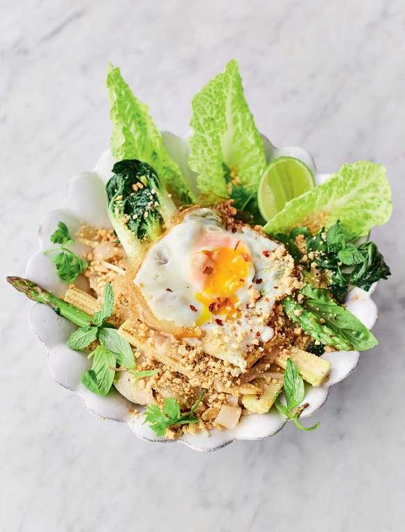 Jamie Oliver's Veg Pad Thai with Crispy Fried Eggs, Special Tamarind and Tofu Sauce, Peanut Sprinkle
